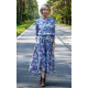 JADE - cotton dress with a stand-up collar - gray flowers