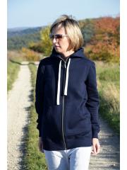 CHLOE - aufgeknöpfter Frauen Hoodie - Marineblau