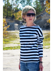 LONS - cotton women LONGSLEEVE - white and navy blue stripes