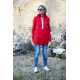 KAPO - knit sweater with hood and pockets - red