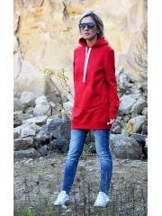 KAPO - Strickpullover mit Kapuze und Taschen / Haube - rot