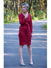 DARCY - cotton dress with belt - burgundy