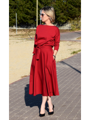 ADELA - Midi Flared cotton dress - burgundy color