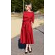 ADELA - Midi Flared cotton dress - burgundy color