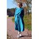 ADELA - Midi Flared cotton dress - turquoise