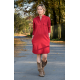 SAHARA - cotton dress with a stand-up collar - burgundy
