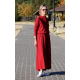 JADE - cotton dress with a stand-up collar - burgundy color