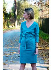 DARCY - Baumwollkleid mit Gürtel - burgunder