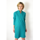SAHARA - cotton dress with a stand-up collar - turquoise color