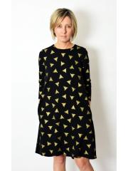 TESSA2 - A-förmiges Kleid mit 3/4 Ärmeln - goldene Dreiecke