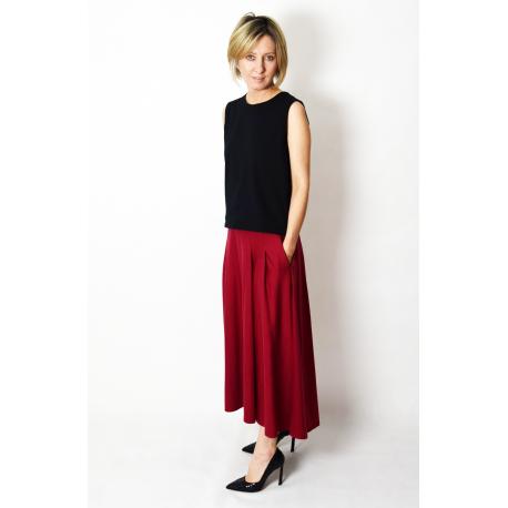 ROMA - long cotton skirt with high waist - khaki