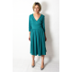IVON - envelope, cotton midi dress - turquoise color