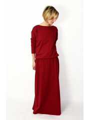 MAXIMA - cotton long dress with pockets - burgundy