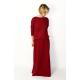 MAXIMA - gestrickten langen Kleid mit Taschen - Burgund