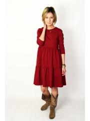 BLUM - midi dress with frills - burgundy