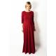 MISS - długa bawełniana sukienka - BORDOWA