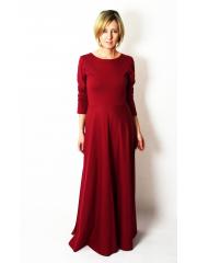 MISS - langes Baumwollkleid mit langen Ärmeln - Burgunder