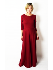 MISS - long cotton dress with long sleeves - burgundy