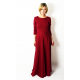 MISS - długa bawełniana sukienka z długim rękawem - bordo