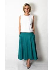 ROMA - langer Baumwollrock mit hoher Taille - khaki
