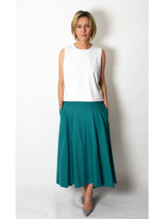 ROMA - long cotton skirt with high waist - khaki