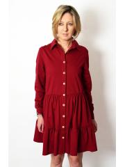 TIFFA - mini dress with frills - burgundy