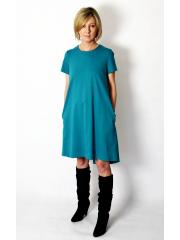 TESSA - A-shaped dress with short sleeves - khaki