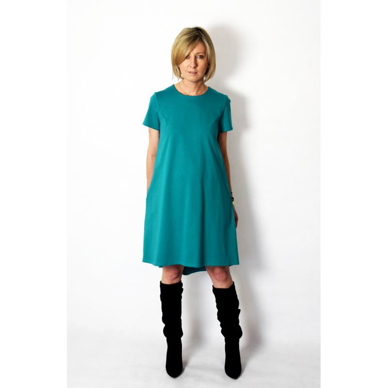 TESSA - A-förmiges Kleid mit kurzen Ärmeln - türkise Farbe ...