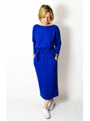 NINA - Cotton maxi belted dress - cobalt