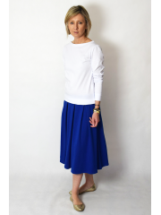 KARI - Cotton midi skirt handmade - cobalt