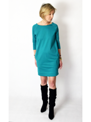 CARRIE - Cotton mini dress - tunic - turquoise color