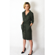 SIMONE - cotton dress with belt fastened with buttons - Khaki