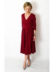IVON - envelope, cotton midi dress - Burgundy color