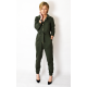 BROOKLYN - cotton jumpsuit with a belt - khaki