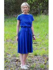LUCY - Midi cotton dress - navy blue polka dots