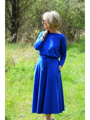 ADELA - Midi Flared cotton dress - cobalt color