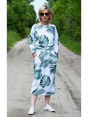 NINA - Cotton maxi belted dress - monstera