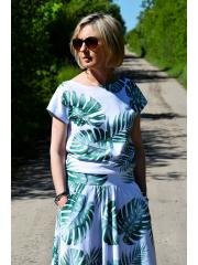 FOCUS - cotton women's T-SHIRT - white and navy blue stripes