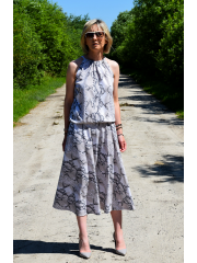 AMIRA - Maxi / long cotton dress - flowers, poppies