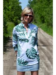 bawełniana bluzka LOLITA - wzór monstera