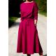 ADELA - Midi Flared cotton dress - monstera