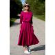 ADELA - Midi Flared cotton dress - fuchsia