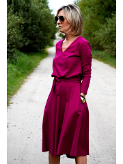 JENNIFER - V-Ausschnitt Baumwolle Midi-Kleid - Fuchsia
