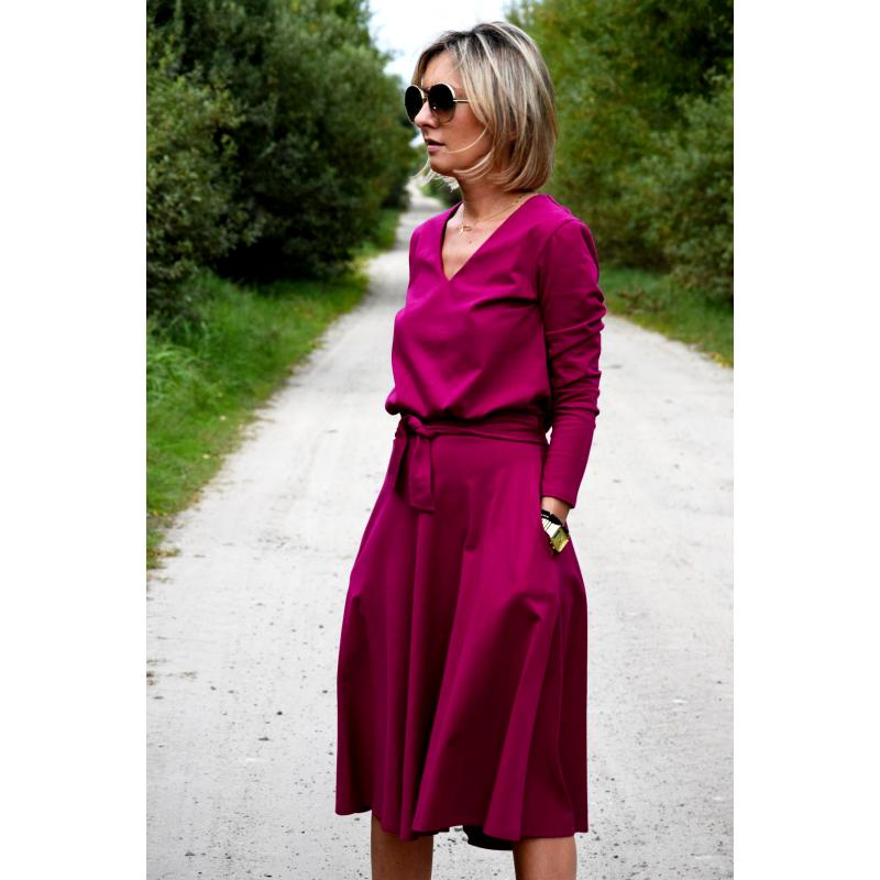 Jennifer V Ausschnitt Baumwolle Midi Kleid Fuchsia Sisters Www Shopsisters Eu