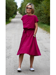 LUCY - Midi cotton dress - fuchsia