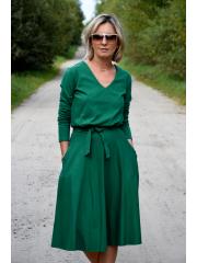 JENNIFER - V-Ausschnitt Baumwolle Midi-Kleid - Grün