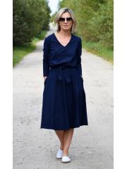JENNIFER - V-Ausschnitt Baumwolle Midi-Kleid - Navy blau
