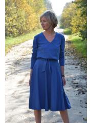JENNIFER - V-neck cotton midi dress - denim