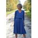 JENNIFER - V-Ausschnitt Baumwolle Midi-Kleid - denim