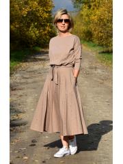 ADELA - Midi Flared cotton dress - black dots